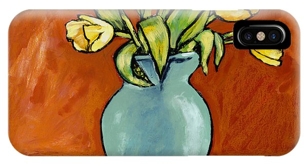 Yellow Tulips In A Turquoise Vase IPhone Case