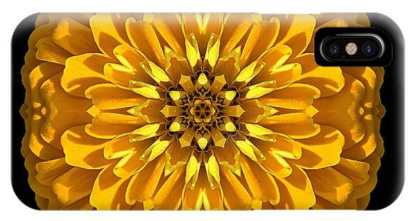 Yellow Zinnia Elegans Flower Mandala IPhone Case