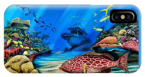 IPhone Case featuring the painting Yellowfin Grouper Wreck by Steve Ozment