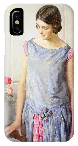 Blue Dress iPhone Case - Yes Or No by William Henry Margetson