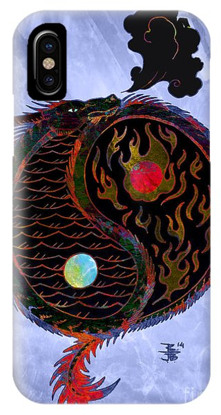 Fire Ball iPhone Case - Ying Yang Dragon by Robert Ball