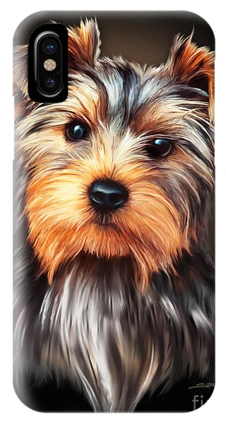 Yorkie Portrait By Spano Phone Case by Michael Spano