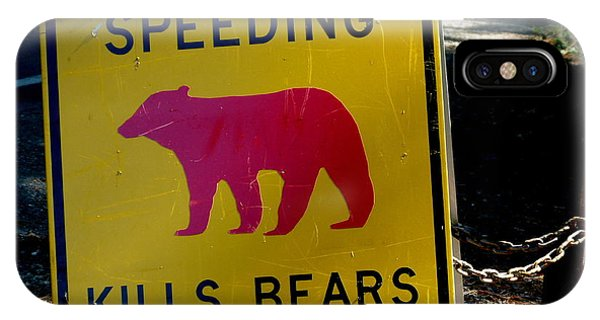 Yosemite Bear Sign Speeding Kills Bears IPhone Case