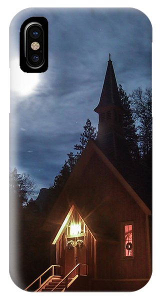 Yosemite Chapel Under A Full Moon IPhone Case