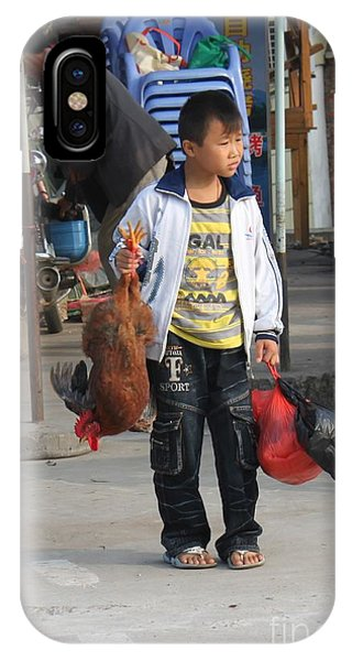 Young Boy Carrying A Dead Chicken To School IPhone Case
