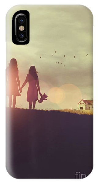 Young Girls In Silhouette Walking In Grass Towards Farm IPhone Case
