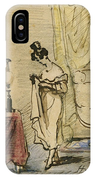 Young Lady At Home Ink & Wc On Paper 2jeune Fille Dans Un Interieur; Intimite; IPhone Case