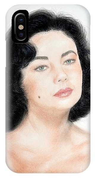 Leading Actress iPhone Case - Young Liz Taylor Portrait Remake by Jim Fitzpatrick