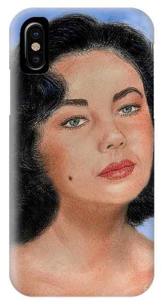 Leading Actress iPhone Case - Young Liz Taylor Portrait Remake Version II by Jim Fitzpatrick