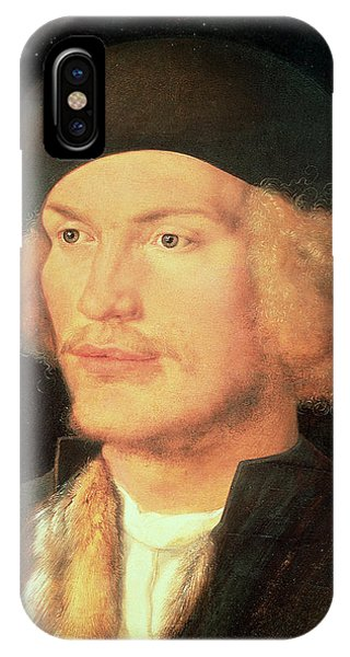 Moustache iPhone Case - Young Man, 1507 Oil On Panel by Albrecht D�rer or Duerer