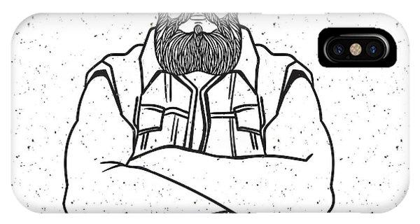 Biker iPhone Case - Young Man Bearded Biker. Hand Drawing by Shik shik