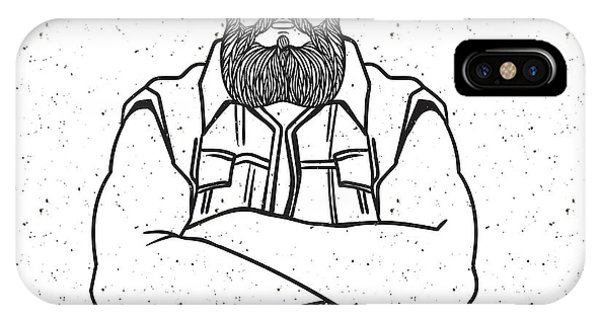 Engraving iPhone Case - Young Man Bearded Biker. Hand Drawing by Shik shik
