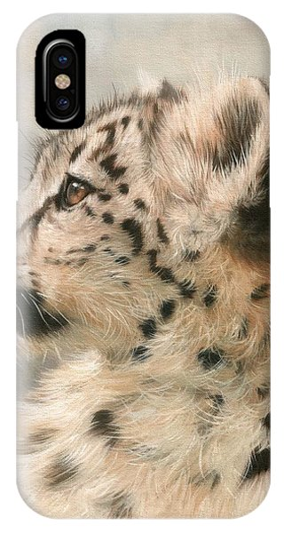 Snow Leopard iPhone Case - Young Snow Leopard by David Stribbling