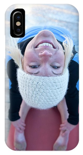 Knit Hat iPhone Case - Young Woman Doing Yoga On Pier In Tahoe by Justin Bailie