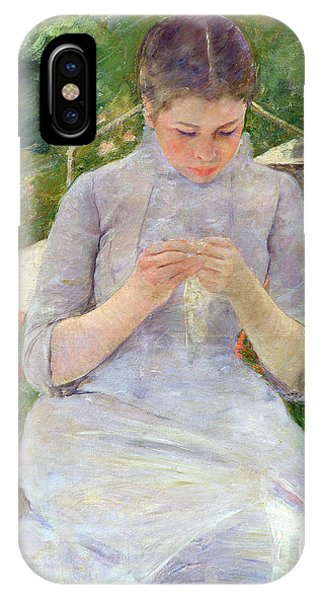 Young Woman Sewing In The Garden IPhone Case