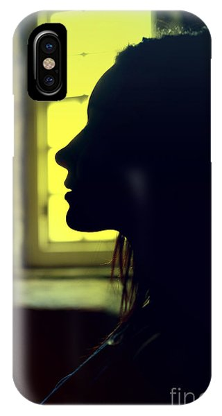 Young Woman Silhouetted Profile IPhone Case