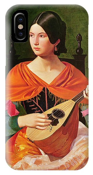 Strum iPhone Case - Young Woman With A Mandolin by Vekoslav Karas