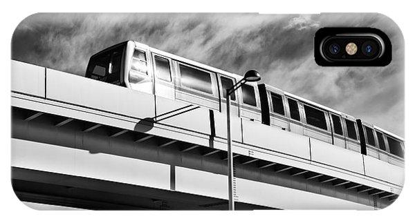 Odaiba iPhone Case - Yurikamome Train On Elevated Railway In Odaiba Tokyo Black And W by Oleksiy Maksymenko