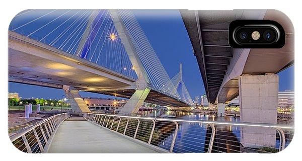 Zakim Bridge iPhone Case - Zakim Bridge Twilight In Boston by Susan Candelario