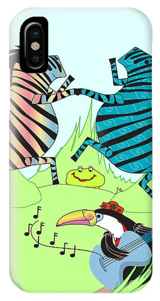 Zany Zebras Dance Phone Case by Chris Morningforest