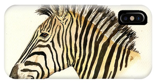 Zebra iPhone Case - Zebra Head Study by Juan  Bosco