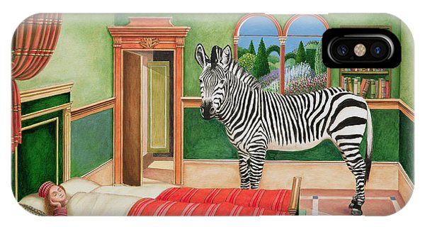 Sleeper iPhone Case - Zebra In A Bedroom, 1996 by Anthony Southcombe