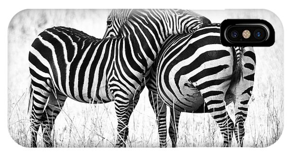 Black And White iPhone X Case - Zebra Love by Adam Romanowicz