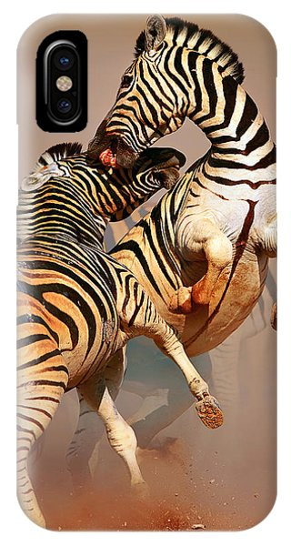 Dust iPhone Case - Zebras Fighting by Johan Swanepoel