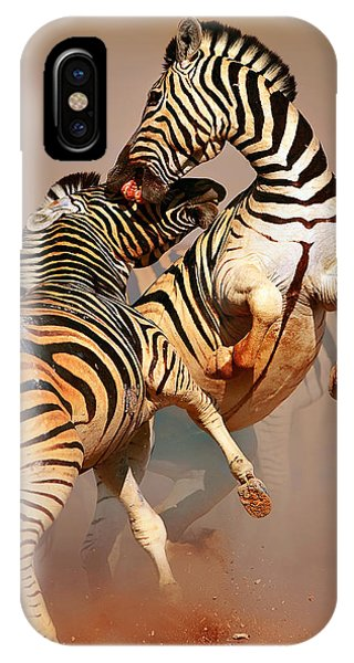 Safari iPhone Case - Zebras Fighting by Johan Swanepoel