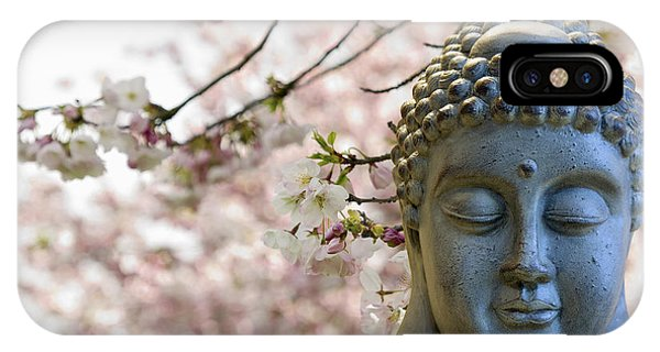 Zen Buddha Meditating Under Cherry Blossom Trees IPhone Case