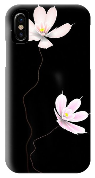 Waterlily iPhone Case - Zen Flower Twins With A Black Background by GuoJun Pan