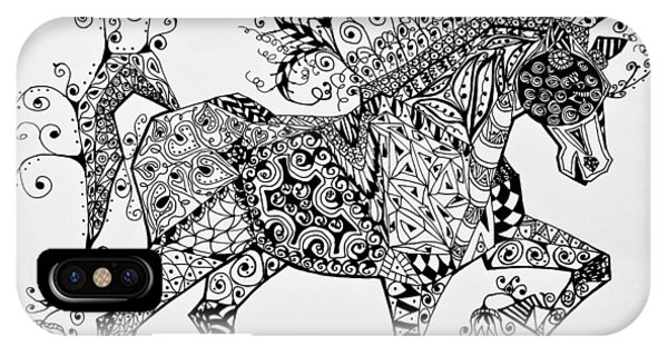 IPhone Case featuring the drawing Zentangle Circus Horse by Jani Freimann