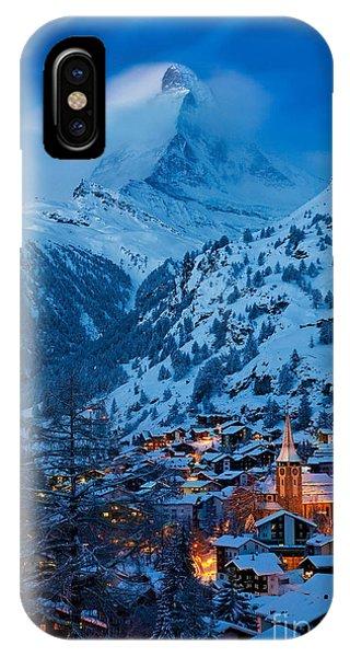 IPhone Case featuring the photograph Zermatt - Winter's Night by Brian Jannsen