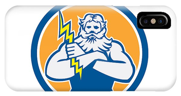Zeus Greek God Arms Cross Thunderbollt Circle Retro Phone Case by Aloysius Patrimonio