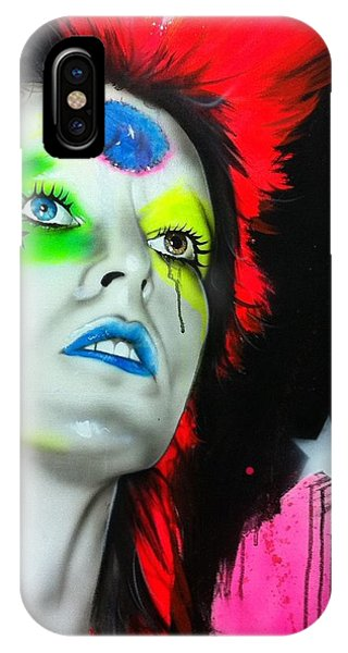 Neon iPhone Case - Ziggy Played Guitar by Christian Chapman Art