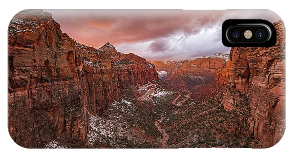 Rock Formation iPhone Case - Zion Np -- Overlook Sunset by April Xie