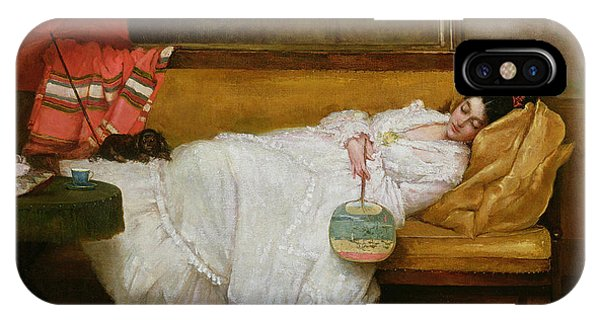 Chaise iPhone Case -  Girl In A White Dress Resting On A Sofa by Alfred Emile Stevens