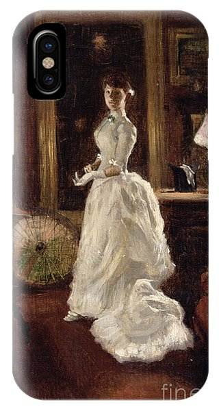 Interior Scene With A Lady In A White Evening Dress  IPhone Case