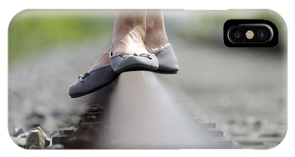 Balance On Railroad Tracks IPhone Case
