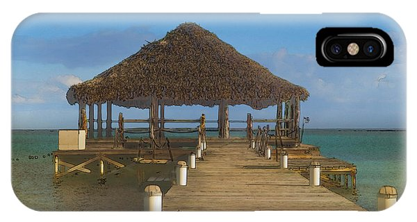 Beach Deck With Palapa Floating In The Water IPhone Case