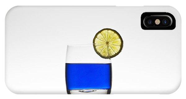 Lemon iPhone Case - Blue Cocktail With Lemon by Joana Kruse