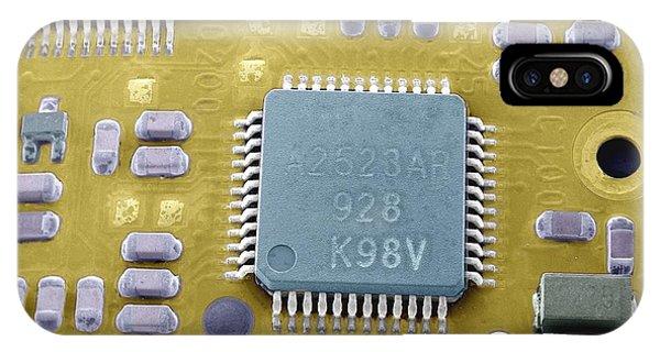 Circuit Board Microchip, Sem Phone Case by Steve Gschmeissner