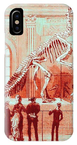 Coloured Engraving Of An Iguanodon Museum Exhibit Phone Case by Mehau Kulyk