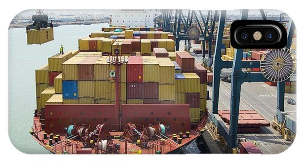 Container Ship And Port Phone Case by Dr Juerg Alean