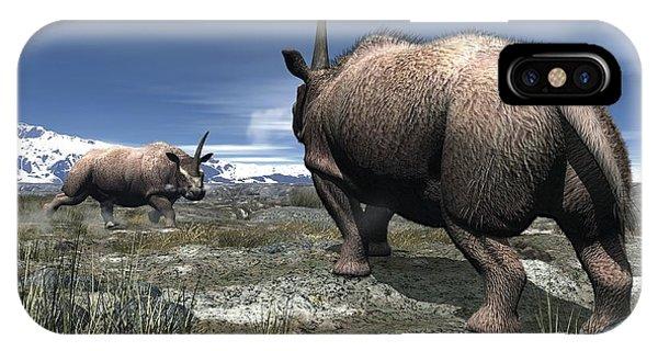 Elasmotherium, Artwork Phone Case by Walter Myers