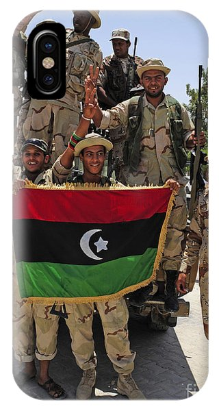 Operation Odyssey Dawn iPhone Case - Free Libyan Army Troops Pose by Andrew Chittock