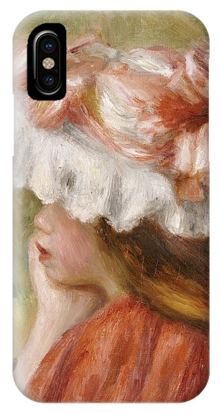Girls In Pink iPhone Case - Head Of A Young Girl In A Red Hat  by Pierre Auguste Renoir