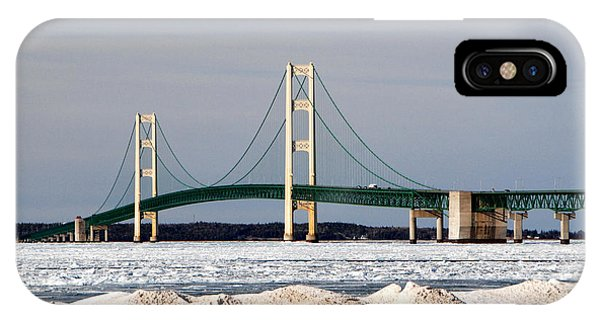 Mackinac Bridge In Winter IPhone Case