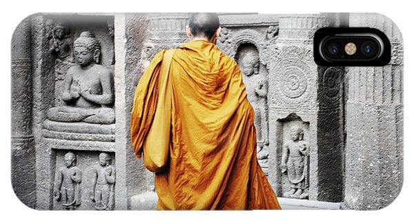 Monk At Ajanta Caves India IPhone Case