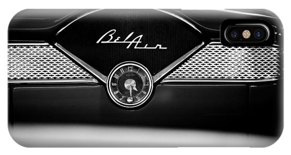 1955 Chevy Bel Air Glow Compartment In Black And White IPhone Case